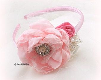 Girl Headband, Flower Girl Headband, White, Pink, Hot Pink, Headband, Toddler Headband, Pink Headband, Halo, Crystals, Gatsby, Elegant