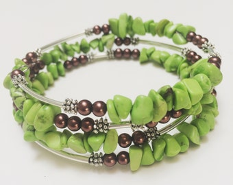 Lime Green Turquoise Memory Wire Bracelet