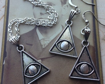 silver pyramid necklace, evil eye pyramid, necklace and earring set
