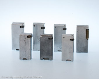 Vintage Collection of Block Aluminum Lift Arm Pocket Lighters - 7 pieces