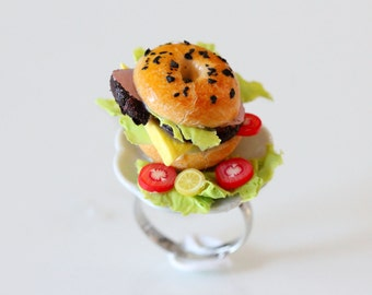 Bagel Sandwich Ring  - Ham and Cheese Sandwich Ring - Miniature Food Jewelry - Food Ring - Kawaii Ring