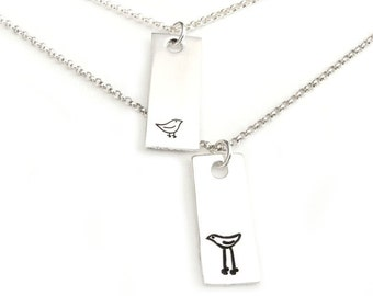 Me and My Mum - Birdy Sterling Silver Hand Stamped Pendants Mom and Daughter Besties Gift Jewelry