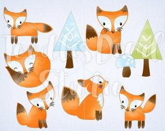 Fox Clipart, Digital Fox Art, Baby Fox Clipart, Tree clipart, Watercolor Fox Art, Instant Download, Fox Scrapbooking, PNG file - 300 dpi