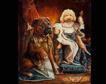 "Custom 2 Figure Royal Pet Portrait 11x14"""