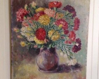 Vintage Oil Painting Art Wall Hanging Impressionist Flowers Vase