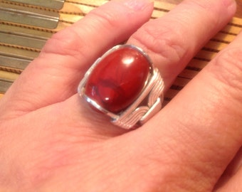 Red Jasper Cabochon Sterling Wire Wrapped 6.5