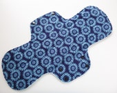 postpartum pad - cloth menstrual pad - cloth pad - 14 inch overnight cloth pad - mama cloth - blue floral flannel top - ready to ship