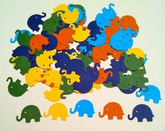 100 MODERN ELEPHANT DECOR 2 shades of blue, yellow, orange, green Hand Punched  Baby Shower Confetti, scrapbooking, cards