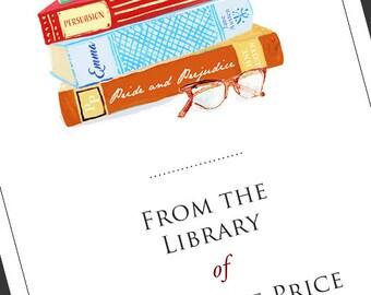 Jane Austen Bookplate, Vintage Book Stack, Pride an Prejudice, Emma, set of 24