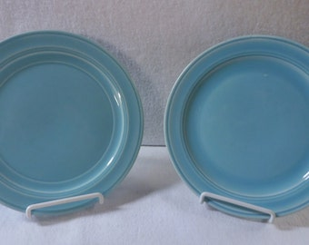 Vernon Kilns Turquoise Early California Two 7-1/2-Inch Salad Plates