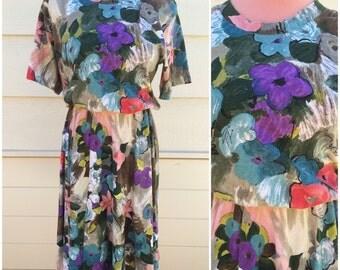 Water multi colour floral pattern 80s blouse dress size large