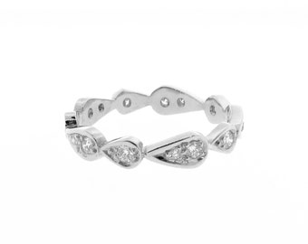 white gold diamond chasing droplets stackable wedding band