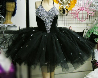 Stage Burlesque Showgirl Stage Latin Dance Ballet Sequin Dress