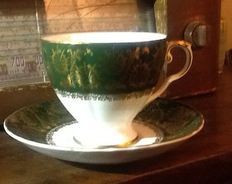Vintage (Rare) Royal Grafton Bone China  England, Forest green, Gold pattern and accents