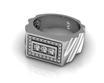 Men ring solid White Yellow Rose Gold 11mm wide 47 diamonds 0.71 ct | made to order for you within 5-7 business days