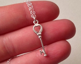 Key Necklace in Sterling Silver  -Silver Key Necklace -Silver Key to Heart Necklace