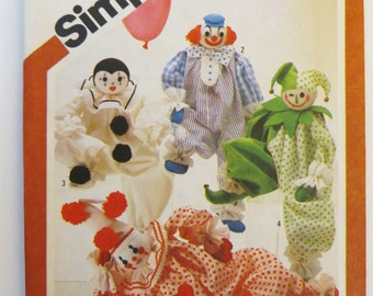 Simplicity 5259, Vintage Clown Doll Pattern, Harlequin Pattern , 20 inch Decorative Clowns, Four Clown Patterns, Vintage 80s Pattern, uncut