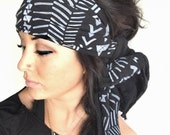 FREE SHIPPING- Bohemian Black Head Wrap (women, teen girls)