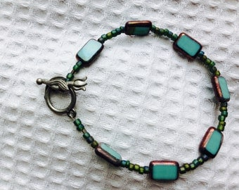Handmade Bracelet, Turquoise Colored Beads