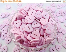SALE Pink Heart Buttons-50 Plastic Pink Heart Buttons 15mm.