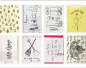 Retro Stamp Sticker Set - Ver. 3 - Vol. 1 Daily - 2 Sheets - 16 Pcs