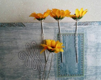 4 Wedding Bridal Bridesmaid Sunflower Hair Pins, Hairpins, Hair Accessories. Fast from USA