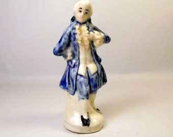 "Vintage Miniature Colonial Man Figurine - Blue and White - Small 3"" Tall"