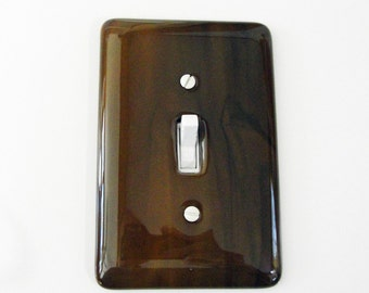 Fused Glass Light Switch Plate Dark Brown and Black Home Decor Wall Art Outlet Cover Switch Plate Cover Gifts Under 50 Dollars Office Decor