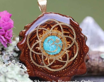 Glowing Crushed Turquoise with Gold Seed of Life + Om Third Eye Pinecone Pendant