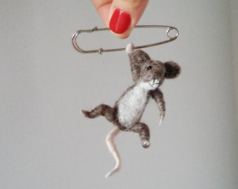 Little Hanging Mouse, Felted Animal Brooch, Cute Animal