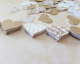 "Wedding HEART Confetti ~ 200 Pieces ~ 1"" to 1.5"" Hearts ~ Bridal Shower Table Scatter~ Neutral Colors"