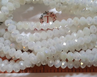 1 strand of 16 inches of 8x6mm Faceted Rondelle Milky White Moonstones color Chinese Crystal
