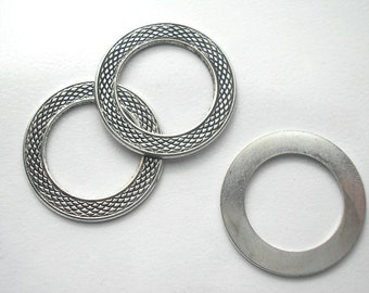 4 Pieces Antiqued Silver Textured Hoop Rings