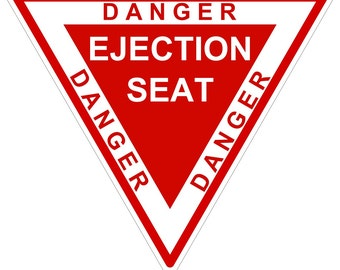 Eject Ejection Seat Danger Warning Sticker for Laptop Book Fridge Guitar Motorcycle Helmet ToolBox Door PC Boat
