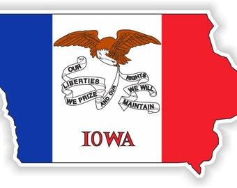 Iowa Map Flag Silhouette Sticker for Laptop Book Fridge Guitar Motorcycle Helmet ToolBox Door PC Boat