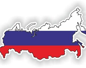 Russia Map Flag Silhouette Sticker for Laptop Book Fridge Guitar Motorcycle Helmet ToolBox Door PC Boat