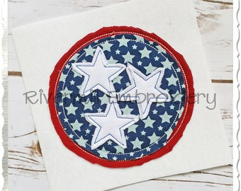 Raggy Applique Stars In A Circle Machine Embroidery Design - 4 Sizes