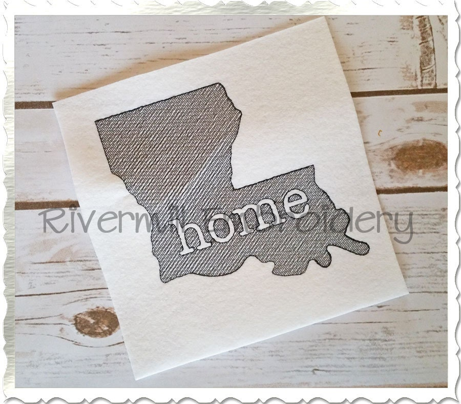 Sketch Style Louisiana Home Machine Embroidery Design From Rivermillembroidery On Etsy Studio
