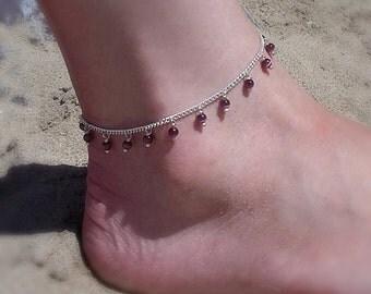 Purple beaded anklet, purple anklets, boho anklets, boho ankle bracelets, silver anklets, beach anklets, beach accessories purple jewelry uk