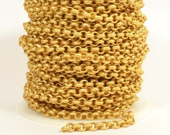 2ft - 18K Gold Plated Rolo Chain - 5.7mm Matte Gold Plated - CH81-18K-MG