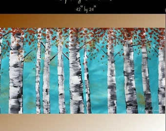 Sale XLarge Abstract painting,Original comtemporary Art,Spring Birch Trees  by Nicolette Vaughan Horner 42x24