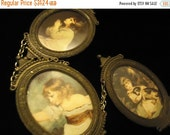 NOW ON SALE Vintage Victorian Scenes Framed Set of 3 Wall Hanging Art Made In Italy Mid Century Modern 1960's Home Decor