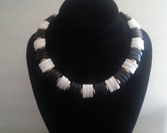 Now On Sale Vintage Black & White Chunky Necklace ** 1980's Retro Rockabilly Collectible Accessory