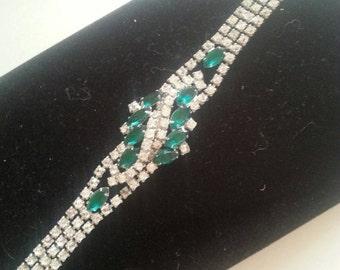 NOW ON SALE Vintage Rhinestone Bracelet 1950's Collectible Wedding Bridal Jewelry Mad Men Mod Hollywood Regency High End Vintage Costume Jew