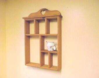 Wood Heart Curio Wall Display Shelf Shadow Box display