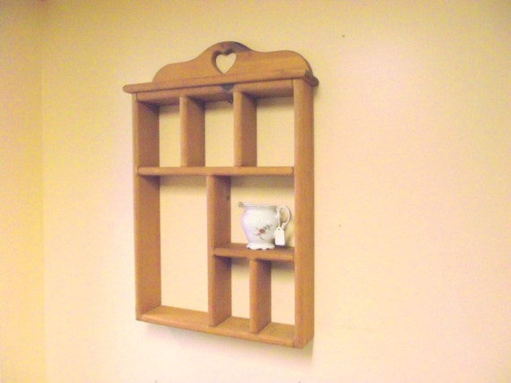 Wood Heart Curio Wall Display Shelf Shadow Box Display