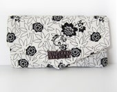 Women's Wallet with Triangle Flap, Card Slots and Zip Pocket in Black and White