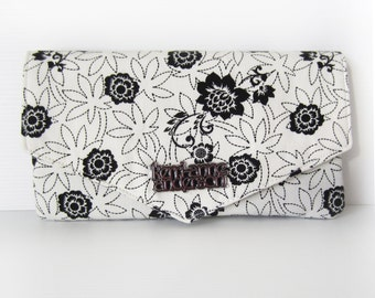 Women's Wallet / Clutch Purse with Triangle Flap, Card Slots and Zip Pocket in Black and White