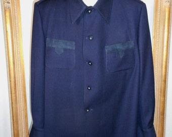 Vintage 1970's Swagger Navy Blue Wool Jacket - Size XXL