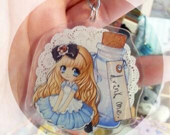 Alice in wonderland Acrylic strap keychain